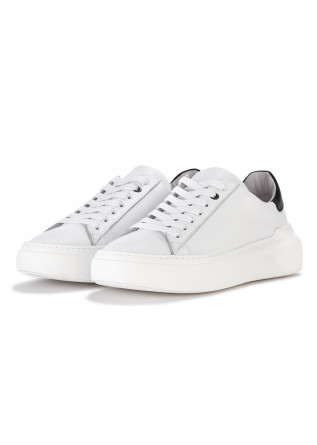 MEN'S SHOES SNEAKERS LEATHER WHITE WITH BLACK DETAIL @GO