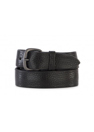 MEN'S ACCESSORIES BELT GUNMETAL PRINTED LEATHER BLACK ORCIANI