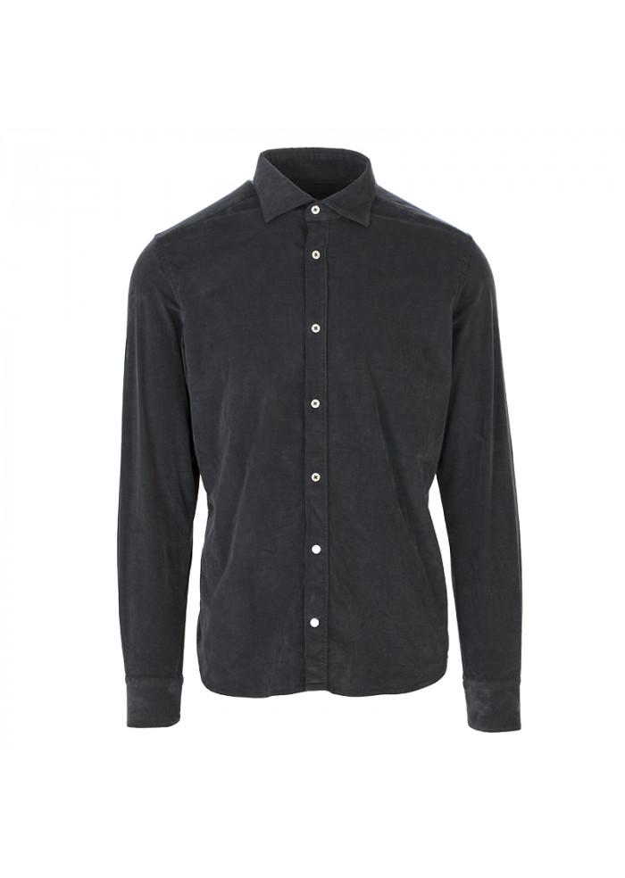 MEN'S CLOTHING SHIRT VELVET COTTON ANTHRACITE GREY MASTRICAMICIAI
