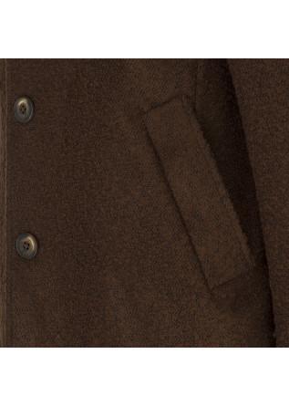 MEN'S CLOTHING COAT WOOL MIX DARK BROWN JERRY KEY