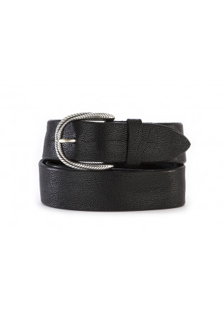 MEN'S ACCESSORIES BELT GENUINE LEATHER / ENGRAVED BUCKLE BLACK ORCIANI