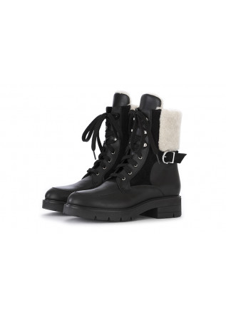 WOMEN'S SHOES ANKLE BOOTS LEATHER / SUEDE LEATHER BLACK WHITE TIFFI