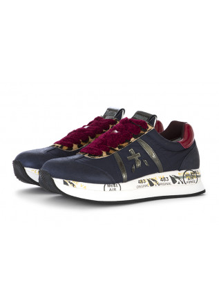 WOMEN'S SHOES SNEAKERS NYLON / LEATHER NIGHT BLUE BORDEAUX PREMIATA