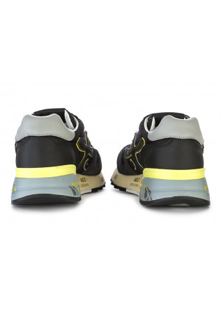 MEN'S SHOES SNEAKERS LEATHER NYLON BLACK GREY FLUO YELLOW PREMIATA