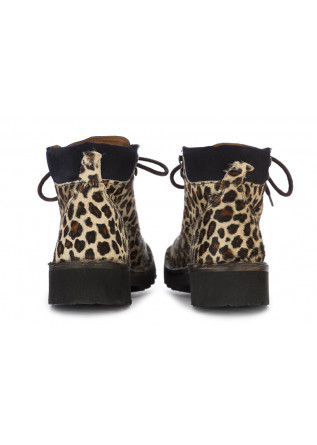 WOMEN'S SHOES ANKLE BOOTS LEOPARD BEIGE MANUFATTO TOSCANO VINCI