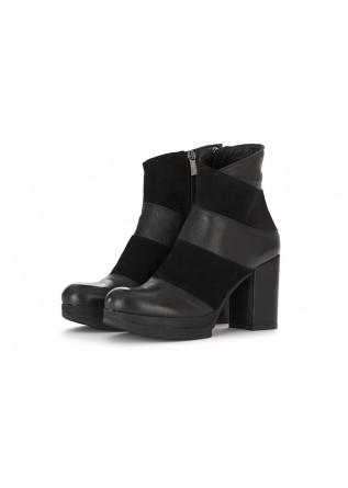 WOMEN'S SHOES ANKLE PLATEAU BOOTS LEATHER / SUEDE BLACK SALVADOR RIBES