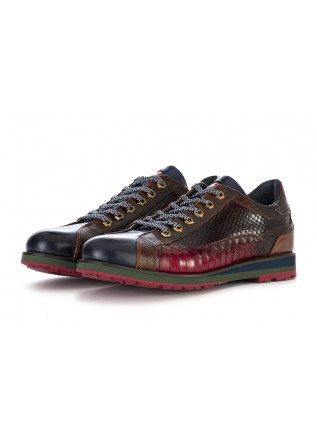 MEN'S SHOES LACE UP SHOES LEATHER HANDMADE RED DARK BLUE LORENZI