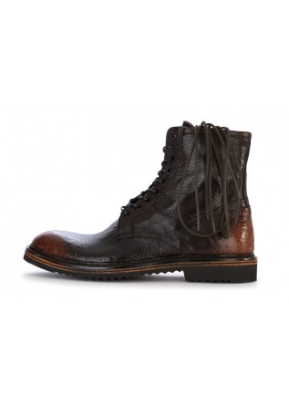 MEN'S SHOES LACE UP ANKLE LEATHER BOOTS HANDMADE DARK BROWN LORENZI