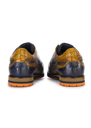 MEN'S SHOES FLAT LACE UP SHOES LEATHER HANDMADE YELLOW BLUE