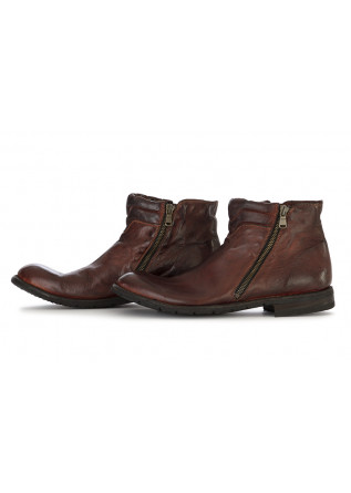 MEN'S SHOES ANKLE BOOTS GENUINE LEATHER HANDMADE BROWN MANOVIA 52