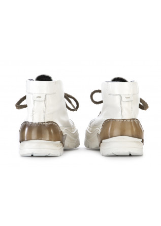 WOMEN'S SHOES ANKLE BOOTS LEATHER WHITE / BROWN MOMA