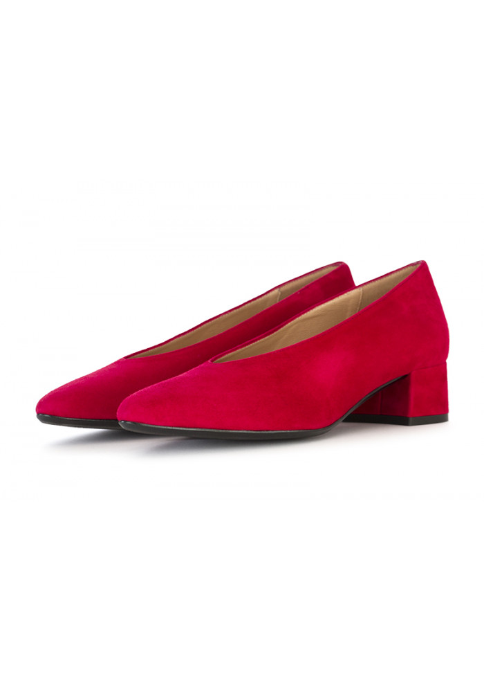 WOMEN'S SHOES PUMPS SUEDE LEATHER RED IL BORGO FIRENZE