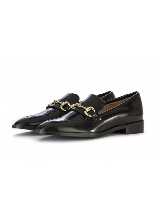 WOMEN'S SHOES LOAFERS LEATHER BLACK IL BORGO FIRENZE