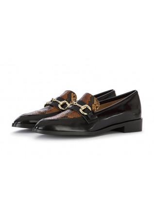 WOMEN'S SHOES LOAFERS LEATHER BLACK / PYTHON BROWN IL BORGO FIRENZE