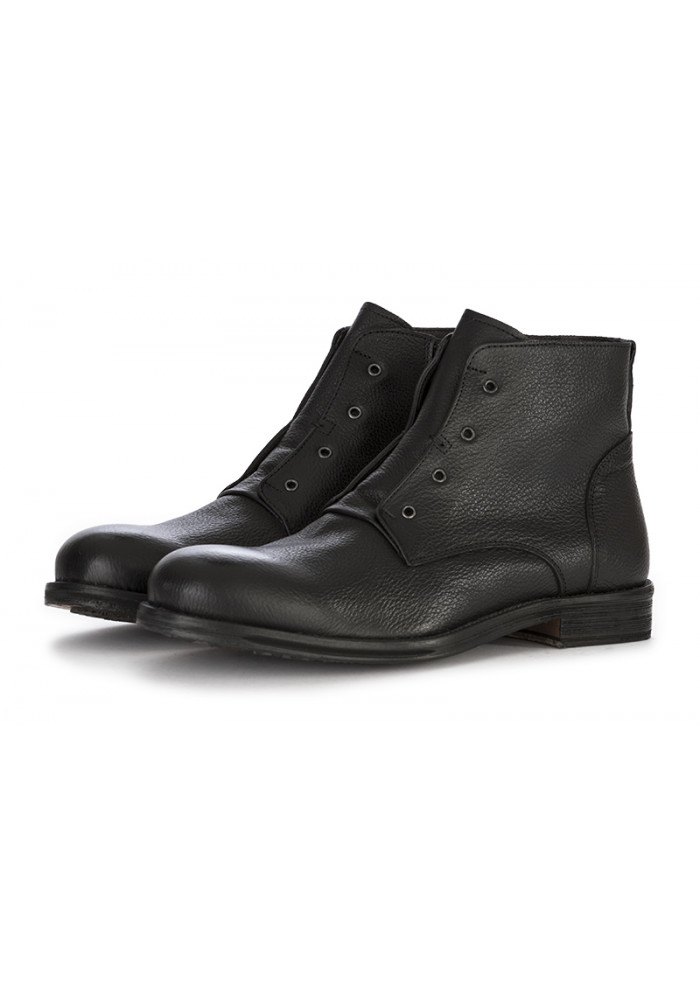 MEN'S SHOES ANKLE BOOTS HANDMADE IN LEATHER BLACK ARCURI