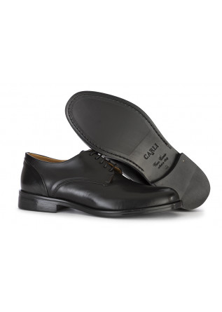 MEN'S SHOES LACE-UP IN LEATHER GLOSSY BLACK CARLI 1937