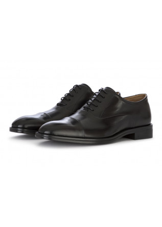 MEN'S SHOES LACE-UP OXFORD LEATHER GLOSSY BLACK CARLI 1937