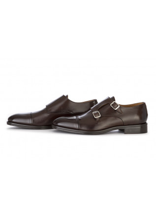 MEN'S SHOES FLAT SHOES DOUBLE BUCKLE LEATHER BROWN CARLI 1937