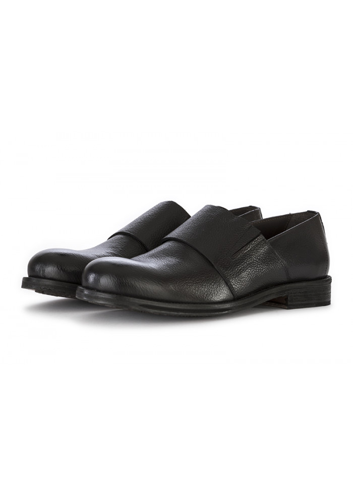 MEN'S SHOES FLAT SHOES HANDMADE IN LEATHER BLACK ARCURI