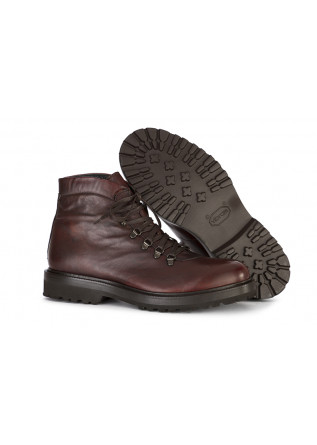 MEN'S SHOES LACE UP ANKLE BOOTS LEATHER HANDMADE DARK BROWN ARCURI