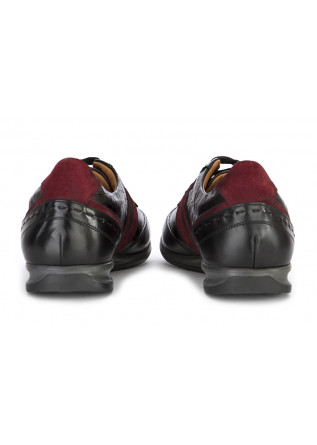 MEN'S SHOES FLAT SHOES LEATHER BLACK BORDEAUX 100% FATTO IN ITALIA