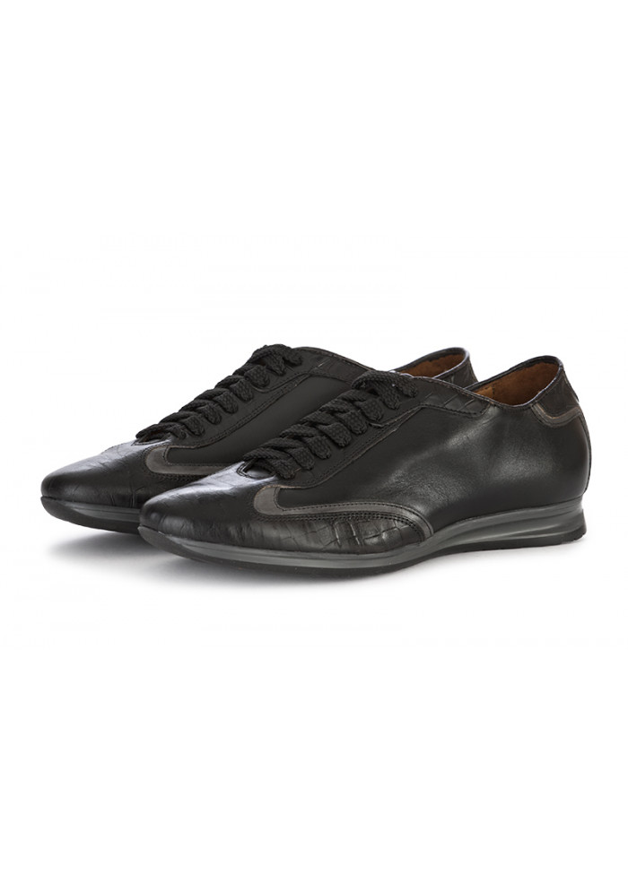 MEN'S SHOES FLAT LACE UP SHOES LEATHER BLACK GREY 100% FATTO IN ITALIA