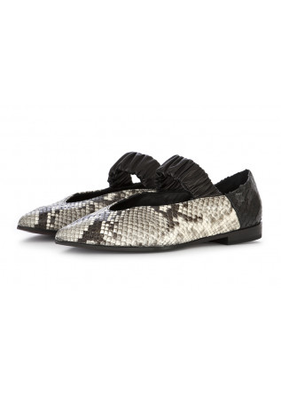 WOMEN'S SHOES BALLERINAS IN LEATHER GREY PYTHON PRINT VIOLA RICCI
