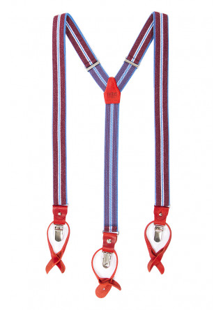 MEN'S ACCESSORIES SUSPENDERS BORDEAUX / LIGHT BLUE DANDY STREET