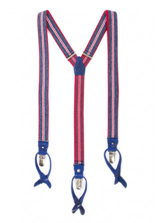 MEN'S ACCESSORIES SUSPENDERS BLUE RED WHITE DANDY STREET