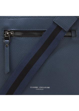 MEN'S BAGS CROSSBODY BAG GENUINE BLUE LEATHER GIANNI CHIARINI