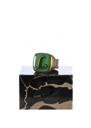 WOMEN'S ACCESSORIES RING LETTER 'L' HANDMADE GREEN UNIQUE