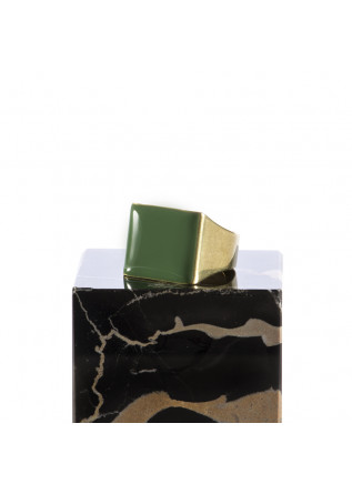 WOMEN'S ACCESSORIES SQUARE RING HAND GLAZED OLIVE GREEN UNIQUE