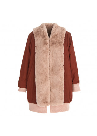 WOMEN'S CLOTHING REVERSIBLE COAT FAUX FUR PINK / BROWN OOF