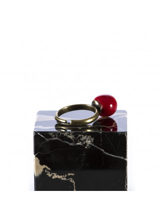 WOMEN'S ACCESSORIES HANDMADE CERAMIC-BRASS RING RED TOLEMAIDE