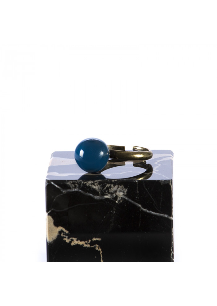 WOMEN'S ACCESSORIES HANDMADE RING BLUE CERAMIC BALL TOLEMAIDE