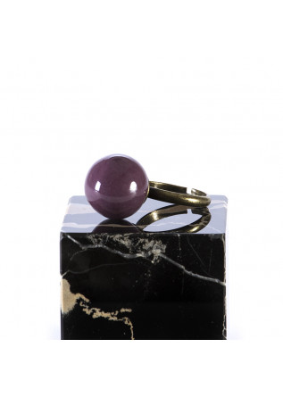 WOMEN'S ACCESSORIES HANDMADE RING GRAPE PURPLE CERAMIC BALL TOLEMAIDE