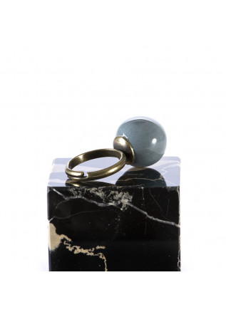 WOMEN'S ACCESSORIES HANDMADE RING CERAMIC BLUE BALL TOLEMAIDE