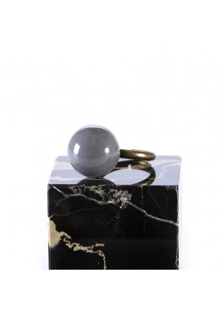 WOMEN'S ACCESSORIES HANDMADE RING WITH GREY CERAMIC BALL TOLEMAIDE