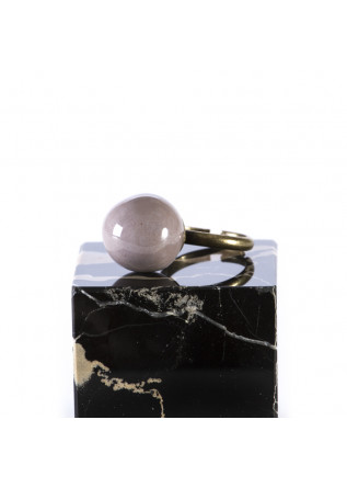 WOMEN'S ACCESSORIES HANDMADE RING DOVE BEIGE CERAMIC BALL TOLEMAIDE