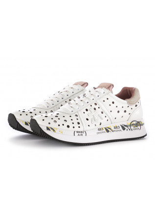 WOMEN'S SNEAKERS PREMIATA|WHITE PERFORATED LEATHER