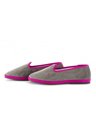 WOMEN'S FLAT SHOES MIEZ | GREY / FUCHSIA VELVET