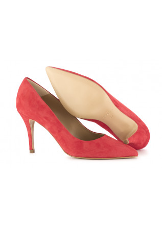 WOMEN'S STILETTO SHOES CRISPI   CORAL RED SUEDE LEATHER