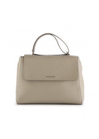 """Sveva"" women's handbag Orciani grey-beige leather"