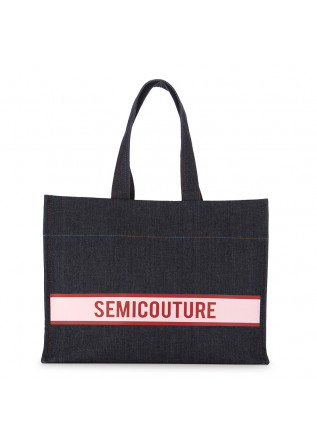 WOMEN'S SHOPPER BAG SEMICOUTURE | BLUE RED DENIM