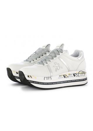 Premiata womens sneakers white silver