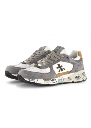 MEN'S SNEAKERS PREMIATA WHITE GREY LEATHER
