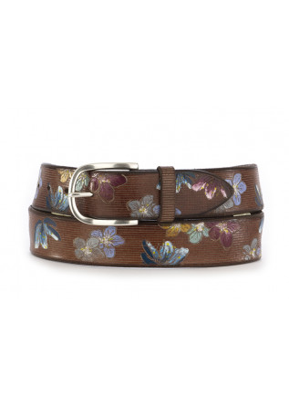 MEN'S BELT ORCIANI FLOWERS BROWN