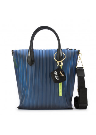 WOMEN'S BAG GUM CHIARINI BLUE/SILVER PLEATED