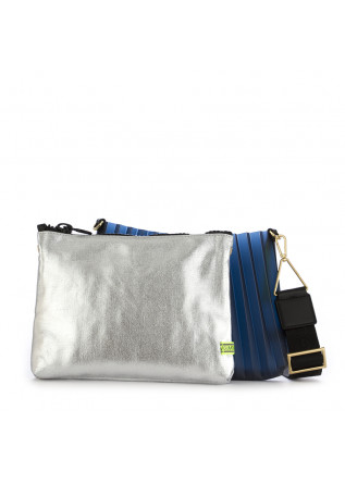 WOMEN'S CLUTCH BAG GUM CHIARINI | SILVER / BLUE PLEATED