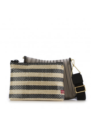 WOMEN'S CLUTCH BAG GUM CHIARINI | BEIGE / BLACK PLEATED